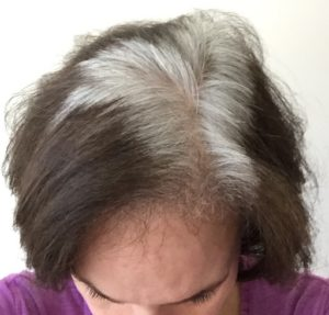 silver gray hair roots